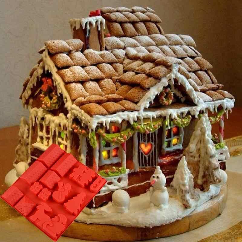 Christmas Gingerbread House.Diy Cake Mold Fondant Mold Christmas Gingerbread House Chocolate Silicone Mold Christmas Decoration Kitchen Supplies