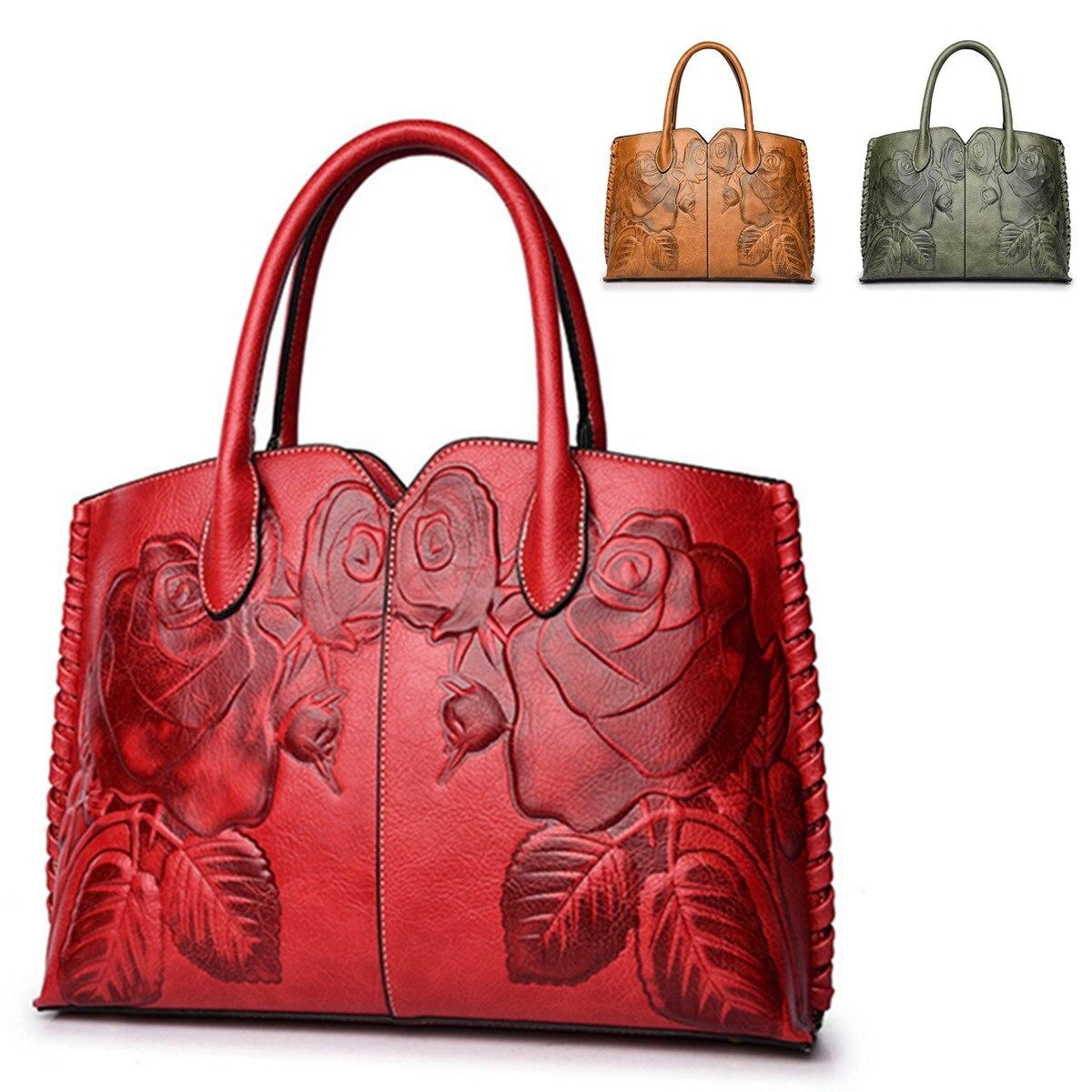 Retro PU Leather Women Handbag Embossed Peony Chinese Style Large Capacity Crossbody Bag Shoulder Messenger Bag Bolsa Feminina