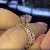 New Flash Diamond Round Princess Ring Engagement Anillo De Bizuteria Bague Etoile for Women Charm Diamante Gemstone Jewelry Ring