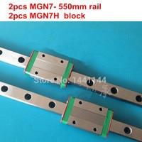 MGN7 Miniature linear rail:2pcs MGN7 550mm rail+2pcs MGN7H carriage for X Y Z axies 3d printer parts