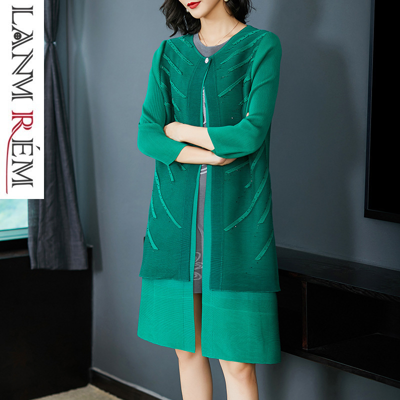 LANMREM 2019 Spring Summer Pleated   Trench   Coat For Women Wrist Sleeve Single Button Loose High Qulity Hot Sale Long Coat NA917