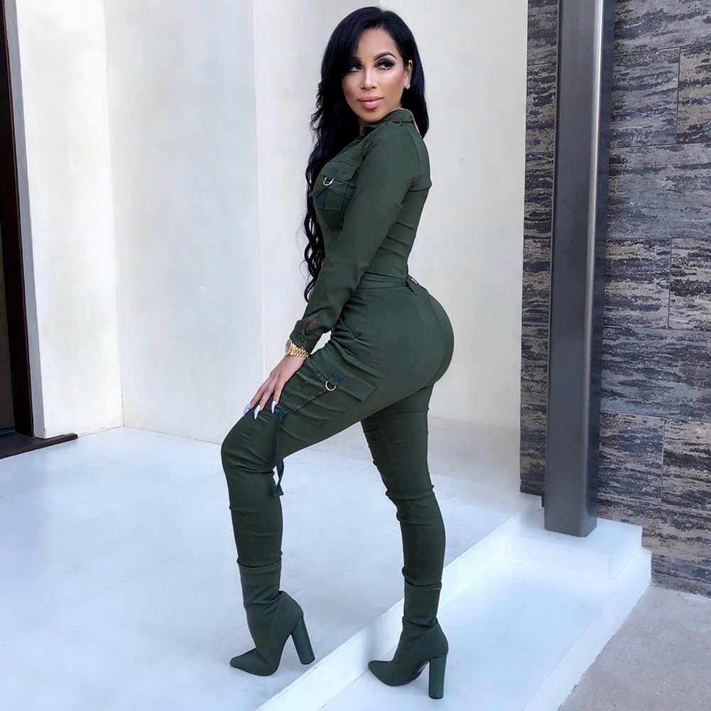 Сексуальный женский сексуальный комбинезон в обтяжку v-образный вырез с длинным рукавом армейский зеленый однотонный Повседневный обтягивающий костюм женский Винтажный Длинный Детский комбинезон