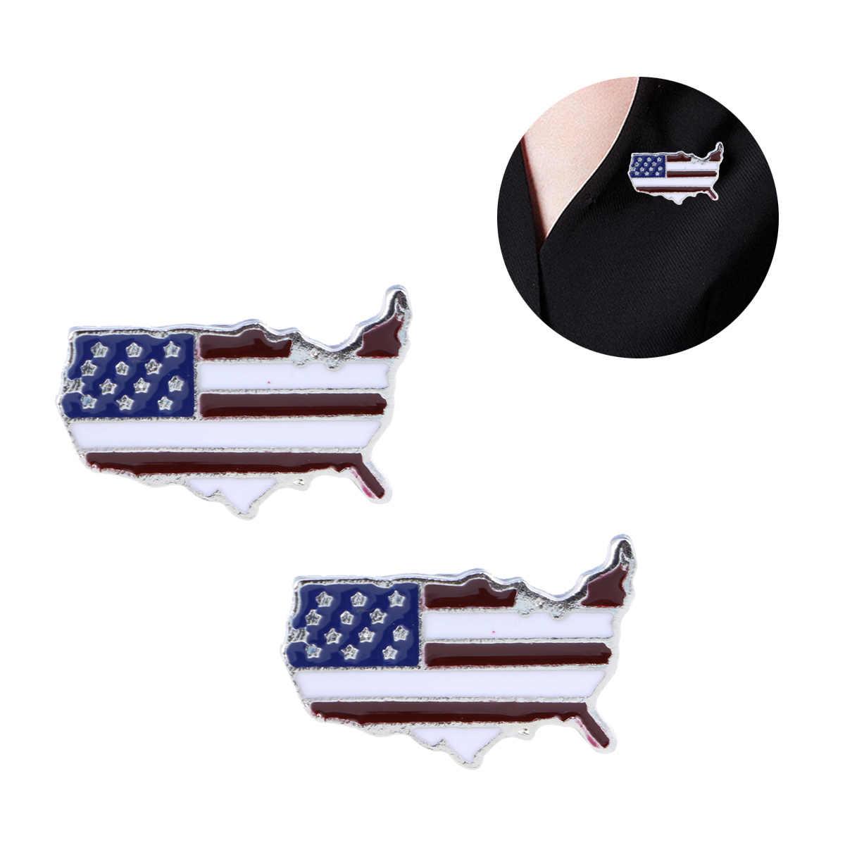 2 pcs Bandiera Americana Spilla Creativo Decorativo Della Lega USA Bandiera Spilla USA Flag Spilli Bandiera Americana Spilli Risvolto Spille per delle Donne degli uomini