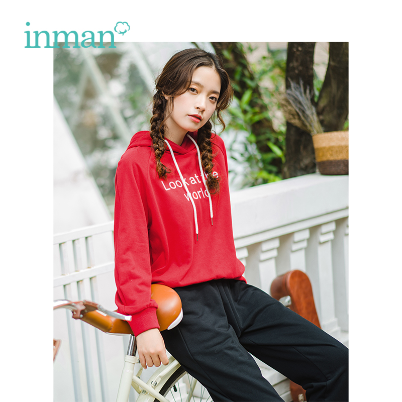 INMAN 2019 Spring New Arrival Hooded Loose Casual Sweater High Waist Pencil Pants Student Style All Matched Women Suit