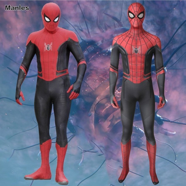Spider-Man Far From Home Costume Peter Parker Tom Holland Homecoming Cosplay Carnival Superhero Halloween Adult Jumpsuit Men