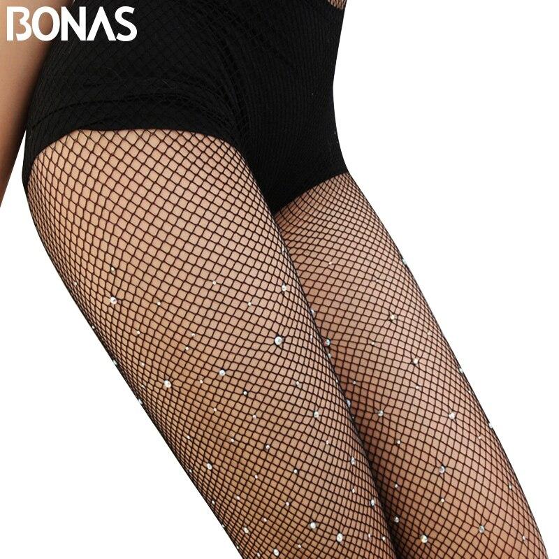 BONAS černé Bling síťované punčocháče letní dámské punčocháče nylonové dlouhé sexy punčocháče bezešvé duté diamantové slim síťované punčocháče