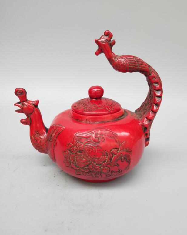 Théière à poignée phoenix en résine rouge imitation chinoise