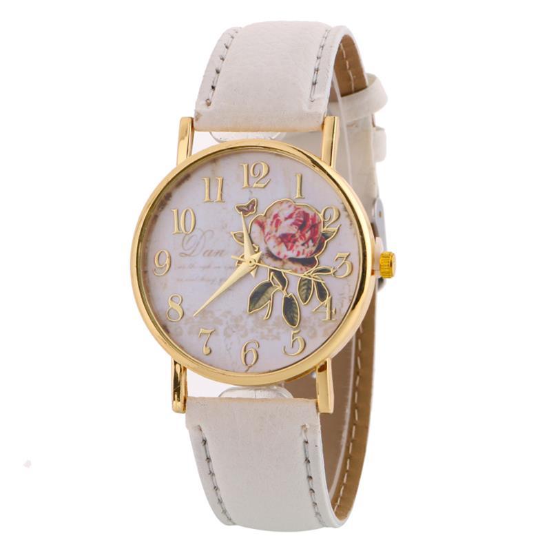 New Women Watch Rose Pattern Fashion Quartz Watches Casual Cartoon Leather Clock Girls Wristwatch Relogio Feminino