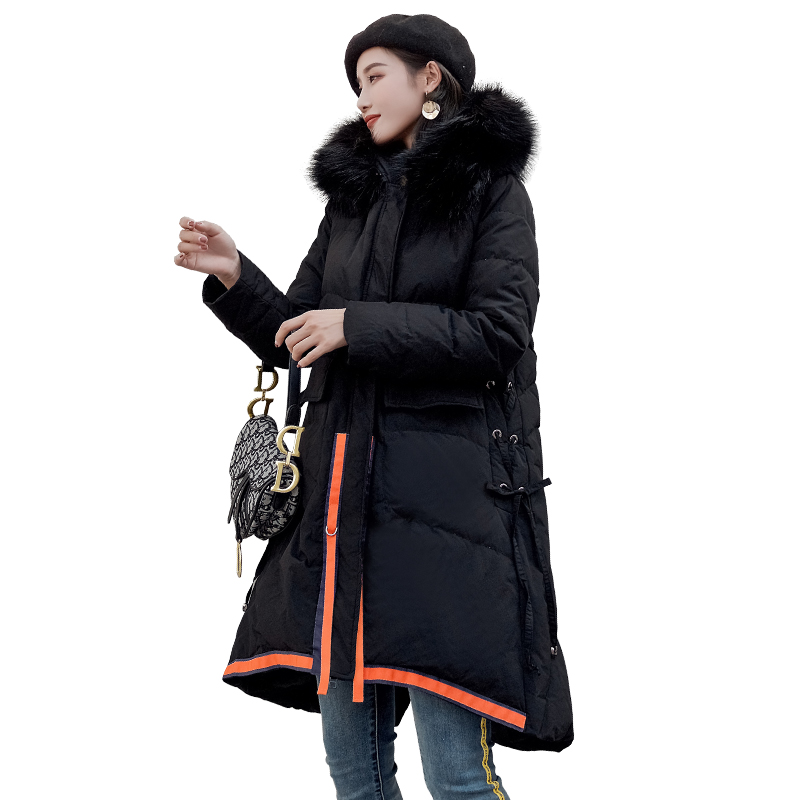 Large Size 5xl Winter Parka For Women Down Cotton Hooded Fur Collar Padded Warm Irregular Long Jacket Female Coat Outerwear P676