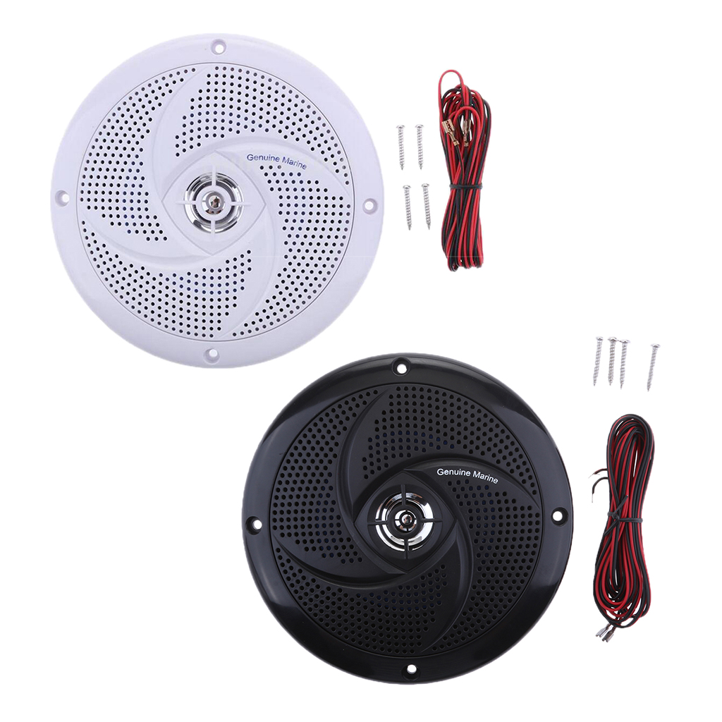 Pair Round Flush Audio Amplifier Speaker For Boat Automobile White+Black