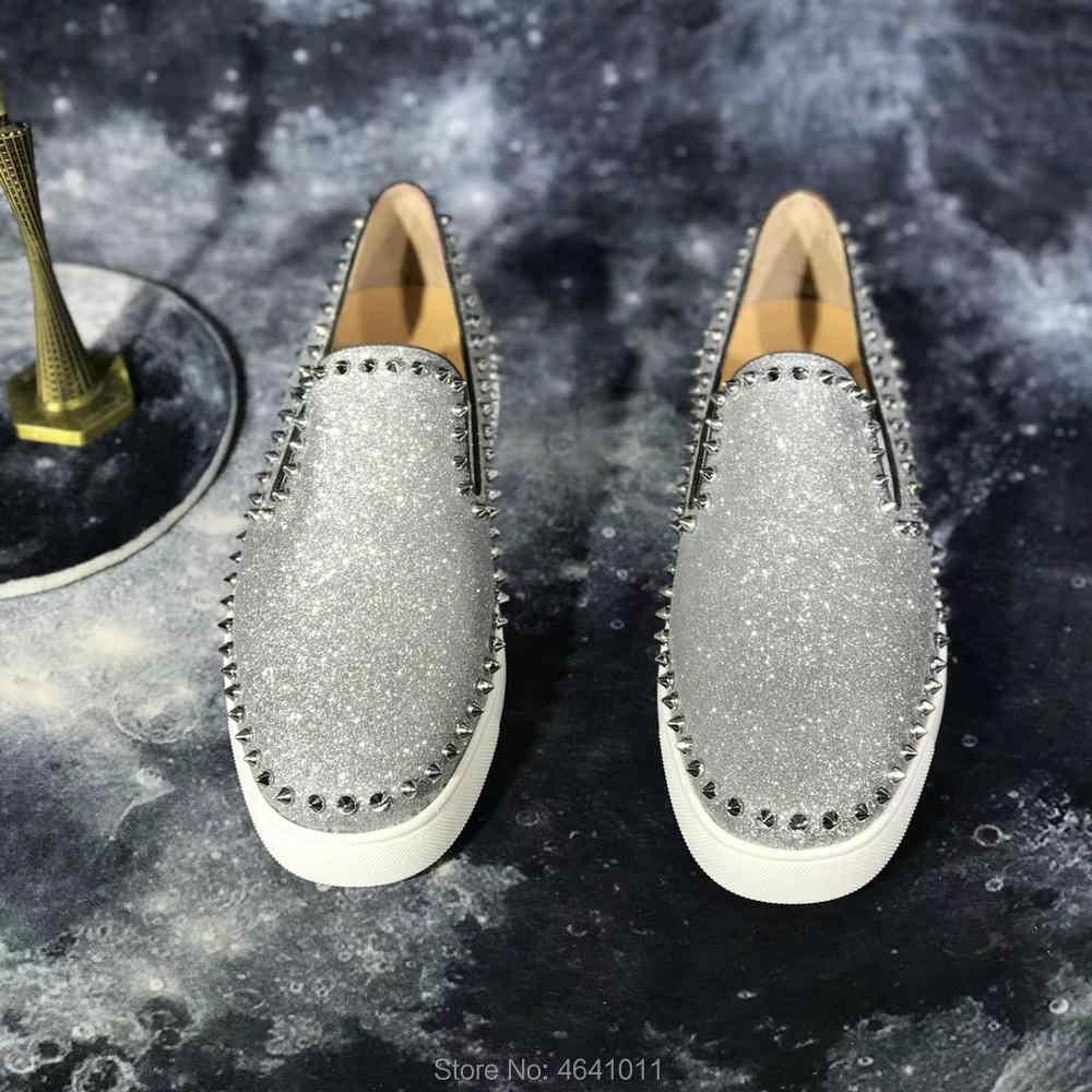 แฟชั่นต่ำตัดรองเท้าพักผ่อน cl andgz Lace up Glitter หนัง Rivet สีแดงกางเกงสำหรับชายรองเท้ารองเท้าผ้าใบลำลองแบน