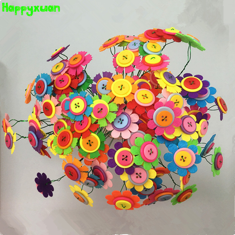 Happyxuan 2 Sets Diy Felt Button Flower Bouquet Kindergarten Craft
