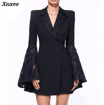 цена Women's blazer elegant suit women jacket coat black lace female blazer feminino double breasted medium-long women's suit blazer онлайн в 2017 году