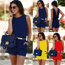 Women Summer Casual Sleeveless Playsuit Ladies Elegant Chiffon Short Jumpsuit Ba