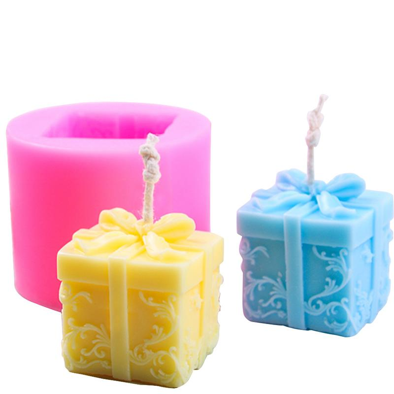 Christmas Gift Box Candle Mould Aroma Candle Gypsum Molds DIY Craft Christmas Decoration Soap Making Silicone Mold Moule Bougie