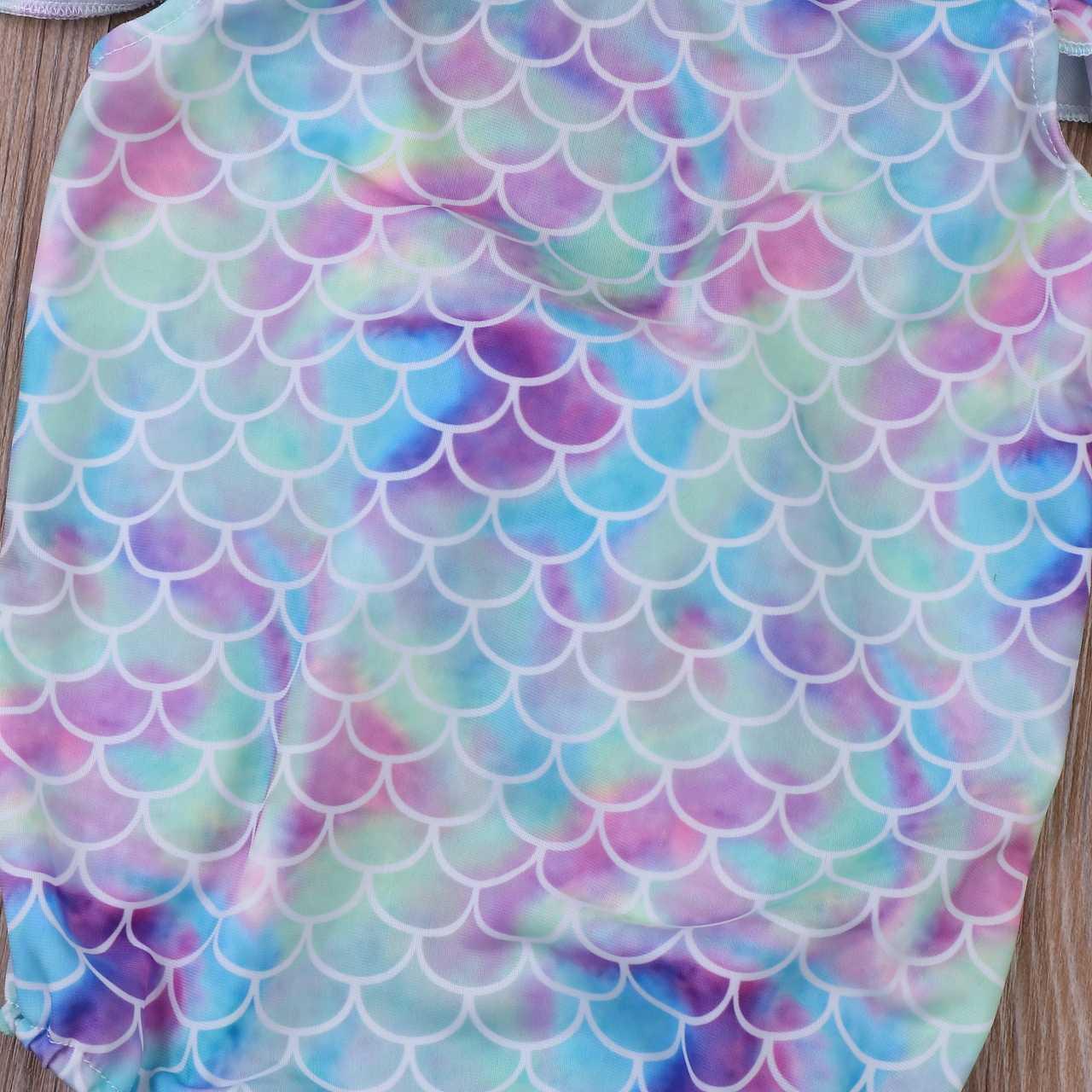 Lovely Balita Anak-anak Bayi Gadis Putri Duyung Renda Ikatan Simpul Tanpa Lengan Pakaian Renang Satu Potong Pakaian Renang Kolam Mandi Pakaian Renang
