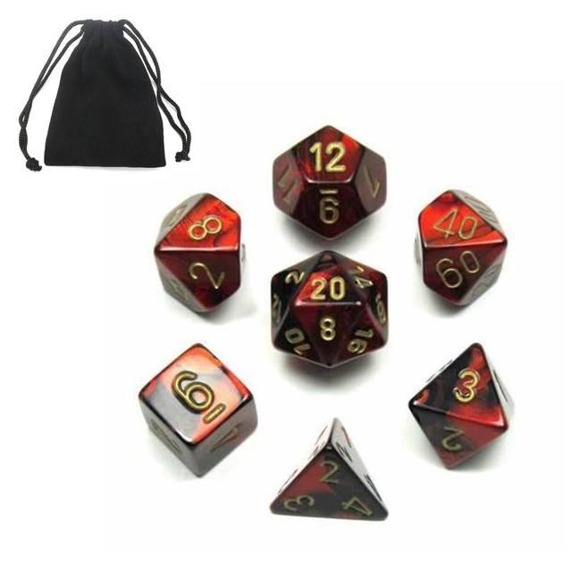7 Pcs Polyhedral Akrilik Dadu Mainan Permainan Dadu Alat Peraga untuk DND TRPG RPG Anak-anak Matematika Pendidikan Digital Dadu Hadiah dengan tas Penyimpanan