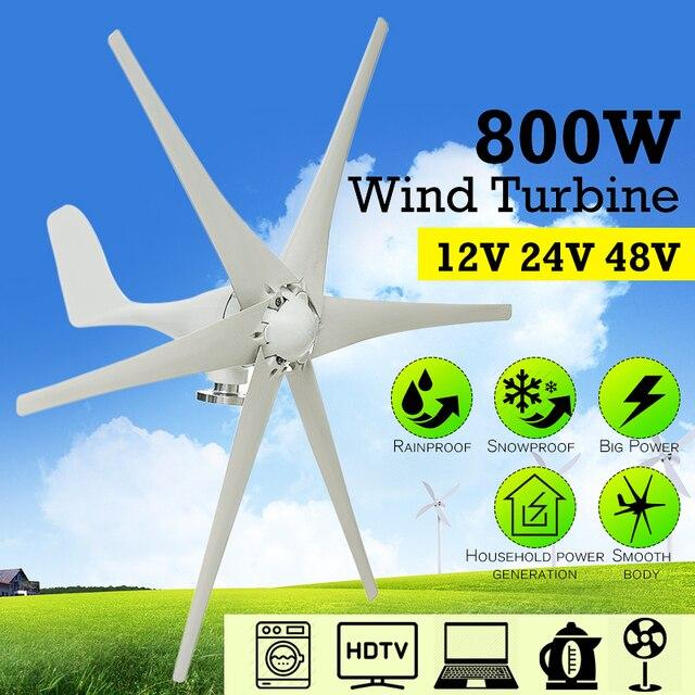 231afbcc27c Nova 800 W 12 V 24 V 48 Volt 6 Fibra de Nylon Lâmina Horizontal Turbinas