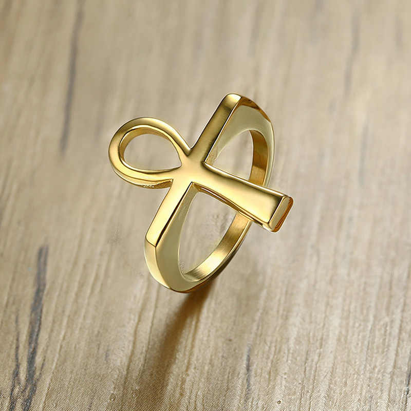 Vnox Cross Men Ring Gold Tone Stainless Steel Ankh Egyptian Key of the Life Male Finger Rings Jewelry