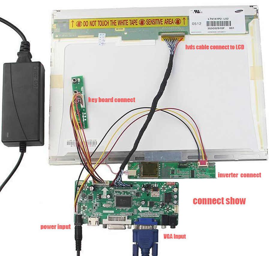 "M. KIT placa controladora HDMI DVI LCD LED VGA Aduio NT68676 1 lâmpadas para LP154WX4 30pin 1280X800 15.4"" tela do monitor de painel"