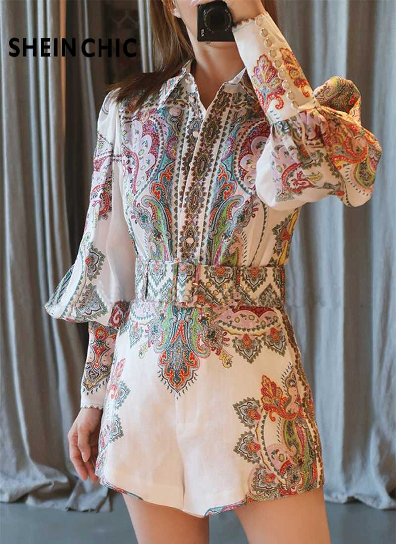 Runway Summer 2019 Two Piece Set Women Bohemian Vacation Beach Single Breasted Print Tops With Shorts Two piece female sets suit