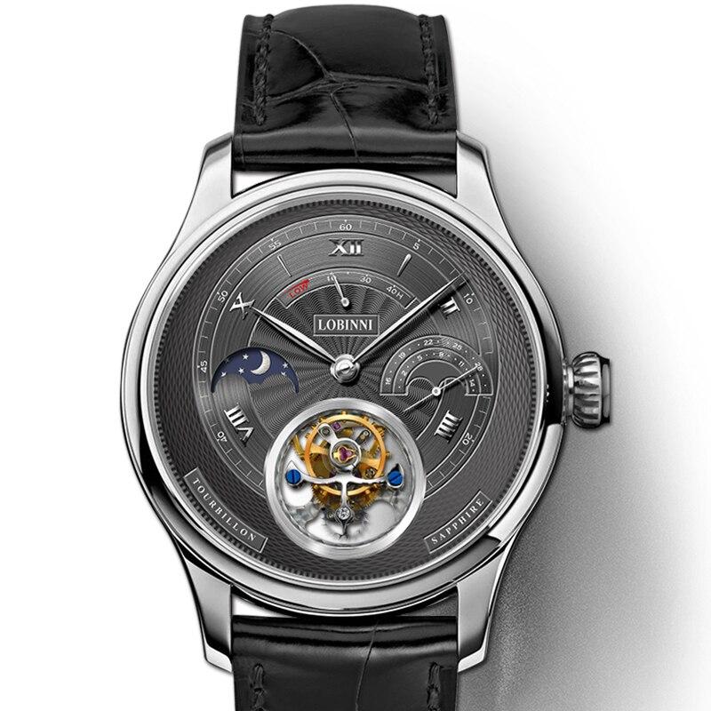 Элитный бренд LOBINNI часы для мужчин Швейцария Турбийон мужские механические часы сапфир водостойкие энергии дисплей часы L8886 5