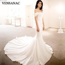 VENSANAC Elegant Sweetheart Satin Court Train Mermaid Wedding Dresses Off The Shoulder Zipper Backless Bridal Gowns