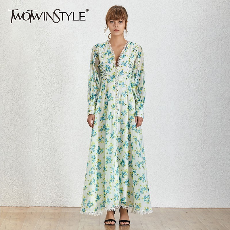 TWOTWINSTYLE Casual Print Split Maxi Dress TDR19588