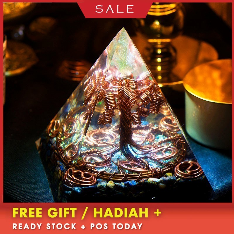 AURA REIKI Orgonite Tree Of Life Pyramid Energy Magnetic Field Converter Eliminate Negative Energy Aura Crystal Decoration