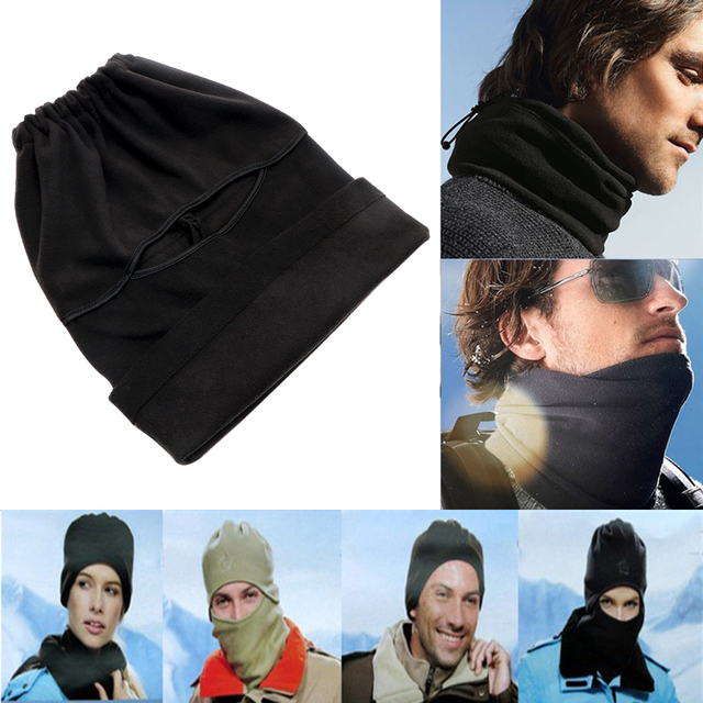 FORAUTO Black Balaclava Full Face Cover Cap Fleece Mask Windproof Hat Winter Stopper Motorcycle Face Mask 1