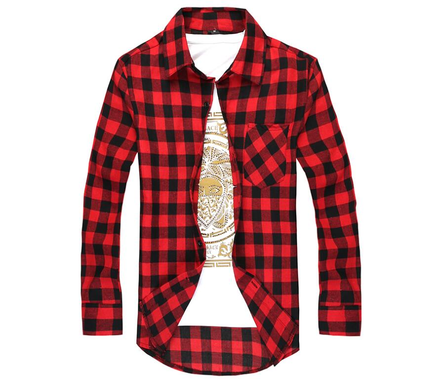 Hot 2020 Men Flannel Plaid Shirt 100% Cotton Spring Autumn Casual Long Sleeve Shirts Soft Comfort Slim Brand Male Clothes M-XXL