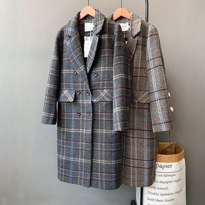 Long Femmes gris Poitrine Laine Marron Coton Lâche Restaurer Manteau Unique Outwear De Hiver Plaid 2018 Féminin Blazer q5xRagPnw
