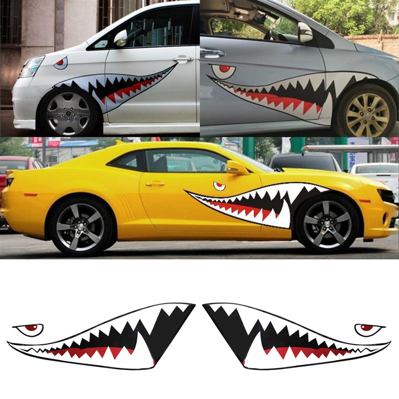 Image 4 - 2X DIY Shark Mouth Tooth Teeth Graphics PVC Car Sticker Decal for Car Waterproof-in Car Stickers from Automobiles & Motorcycles