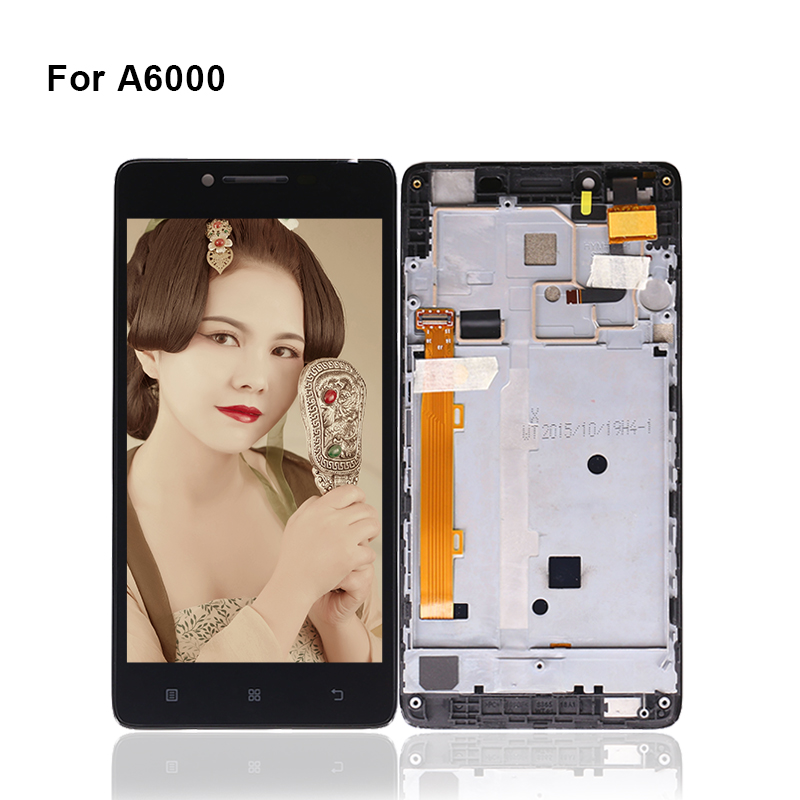For Lenovo A6000 LCD Display Touch Screen With Frame Digitizer A6000 Display Sensor Panel Complete For Phone Free Shipping