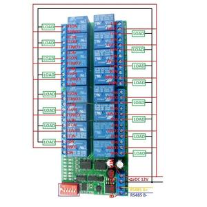 Image 2 - DYKB 16CH Modbus RTU RS485 Relay Module Bus Remote Control Switch Board PLC control DC 12V FOR Lamp LED Motor PLC PTZ Smart Home