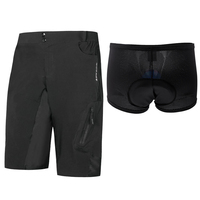 Perfeclan Waterproof Men Bike Cycling Shorts Riding Loose Fit Half Shorts with Padded Underwear Cushion Shorts Set Black