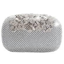 Único fecho de prata diamante cristal diamante noite bolsa embreagem festa nupcial baile