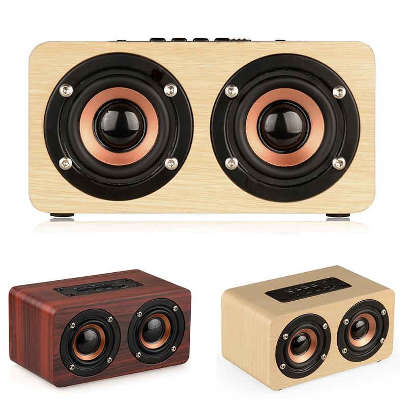 W5 Wooden Dual Loudspeaker Wireless Bluetooth V4.2 Speaker With TF Card Insert AUX Function 10W Power Subwoofer