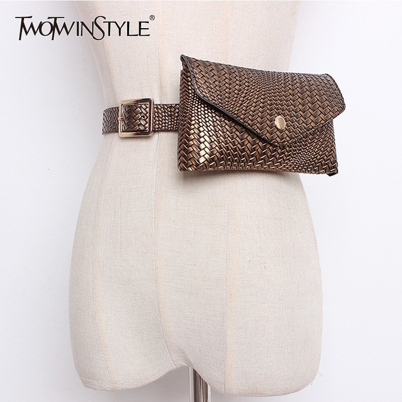 TWOTWINSTYLE Woven PU Leather Belt Women With Detachable Small Pocket Female Belt For Dress Autumn Winter 2020 Fashion Tide