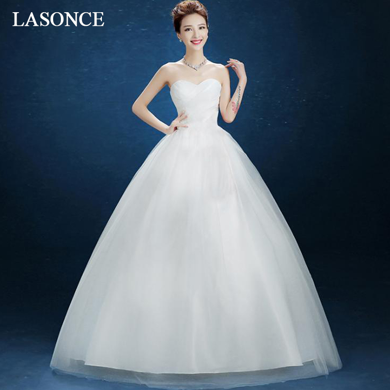 LASONCE Elegant Off The Shoulder Ball Gown Lace Wedding Dresses Pleat Strapless Bow Sash Backless Bridal Gowns
