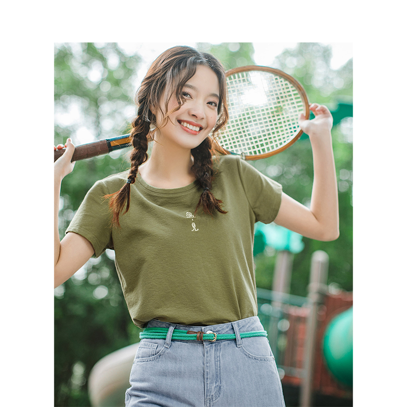 INMAN 2019 Summer New Arrival O-neck Literary Embroidery Retro Casual All Matched Slim Short Sleeve Women T-shirt