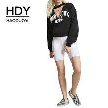 HDY Haoduoyi 2019 Individual New York City XXL Letter Printed Bat Sleeve Ribbon Short Sanitary Clothes