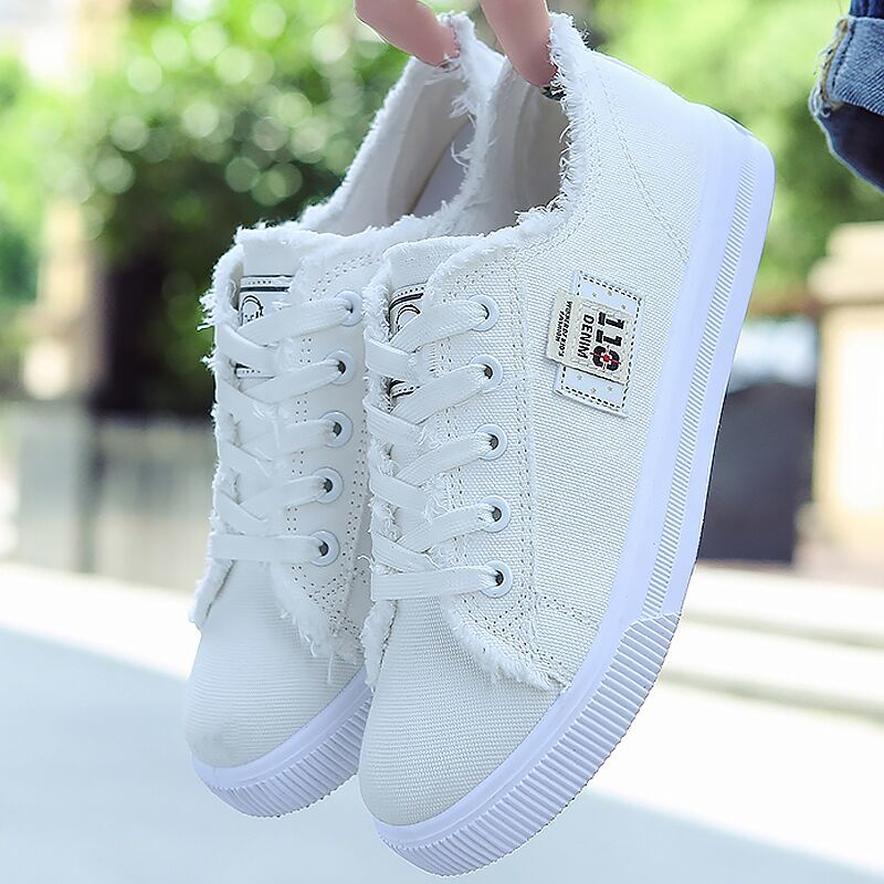 2019 Spring Women Canvas Shoes Solid Lace-up Shoes For Girls Shallow Flat Women Sneakers Women's Vulcanize Shoes