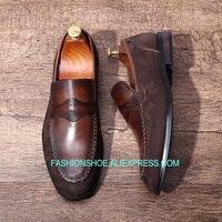 Итальянская мужская обувь; замшевые Формальные туфли ручной работы в стиле ретро; мужские оксфорды из натуральной кожи