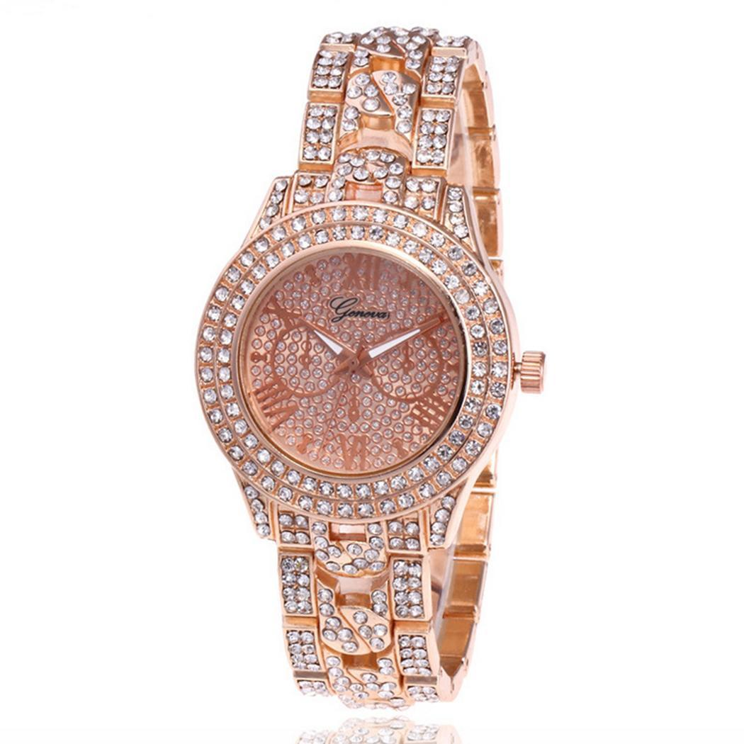 Watches New Fashion Metal Band Round Analog Quartz Wrist Watch 24cm Easy To Read Bracelet Complete Schedule Bangle