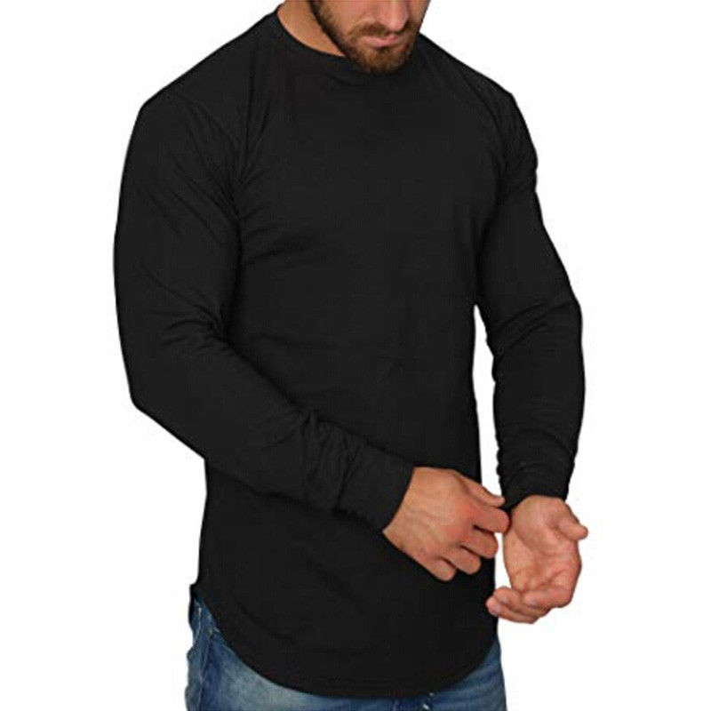 Men Long Sleeve Solid   T  -  Shirts   Irregular Curved Hem Loose O Tee HipHop   Shirts   Streetwear Casual Tops Oversize Basic Tee