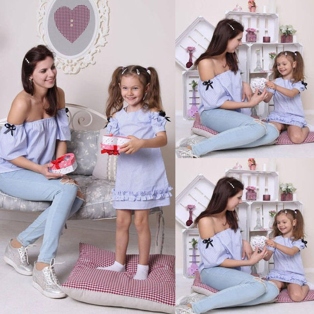2019 Summer Mommy and Me Family Matching Dress Mother Daughter Floral Holiday Maxi Dress Clothing Blue