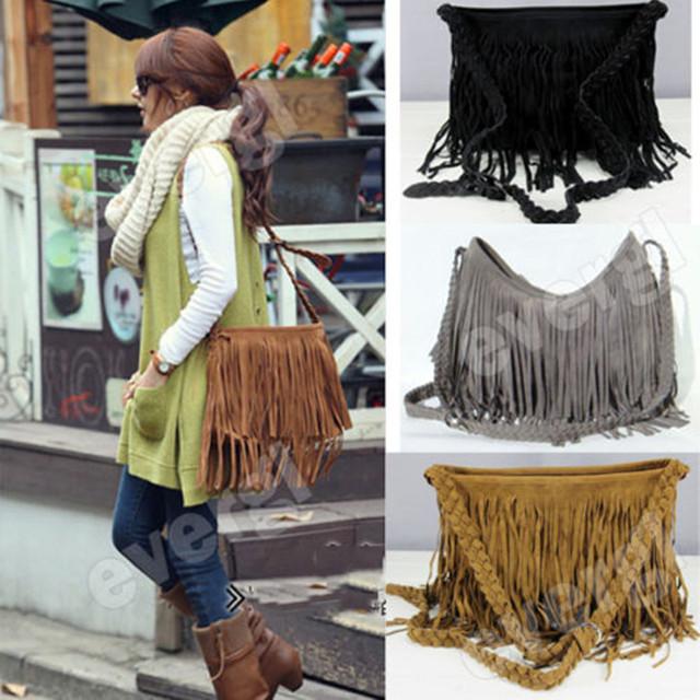 2019 The Newest Fashion Solid Scrub Faux fur Women Trending Cross Body Bag Tassel Suede Fringe Messenger Shoulder Handbag US