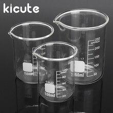 Kicute 3 шт 100 мл 150 мл 250 мл стеклянный стакан набор Градуированный прозрачный боросиликатный мерный стакан школьные принадлежности для лаборатории