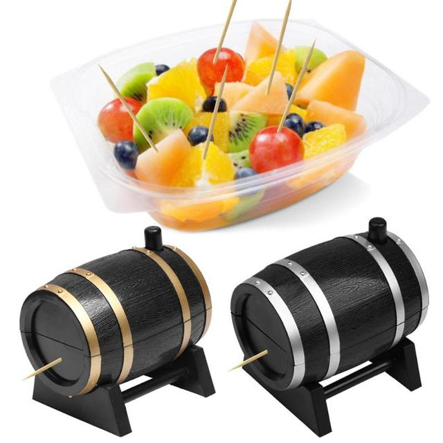 Автоматический винный бочонок держатель для Зубочисток контейнер пшеничной соломы для домашего обеденного стола зубочистка коробка для хранения зубочистка дозаторы расходные материалы